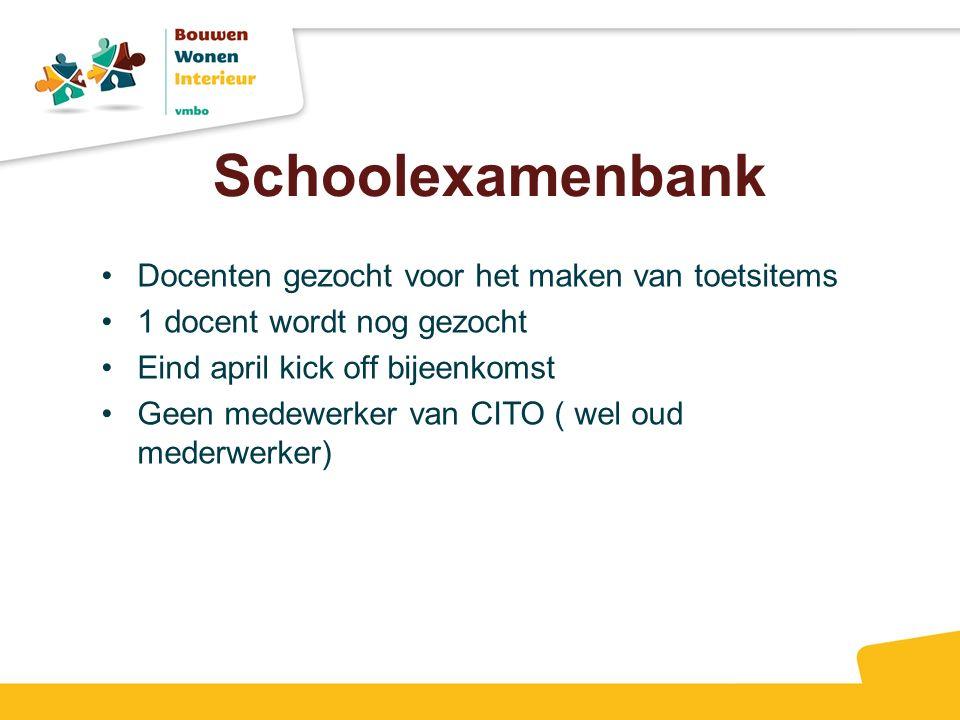 Schoolexamenbank Docenten gezocht voor het maken van toetsitems 1 docent wordt nog gezocht Eind april kick off bijeenkomst Geen medewerker van CITO ( wel oud mederwerker)