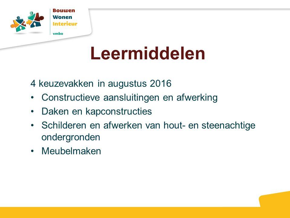 Leermiddelen 4 keuzevakken in augustus 2016 Constructieve aansluitingen en afwerking Daken en kapconstructies Schilderen en afwerken van hout- en steenachtige ondergronden Meubelmaken