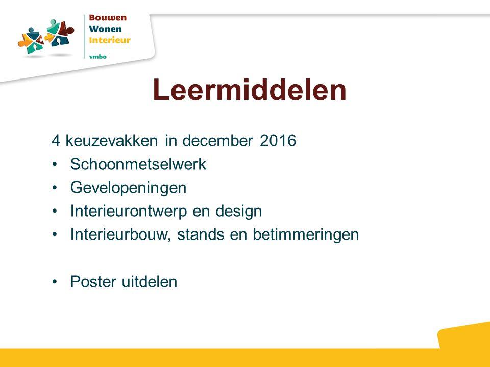 Leermiddelen 4 keuzevakken in december 2016 Schoonmetselwerk Gevelopeningen Interieurontwerp en design Interieurbouw, stands en betimmeringen Poster uitdelen