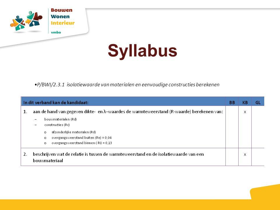 Syllabus P/BWI/2.3.1 isolatiewaarde van materialen en eenvoudige constructies berekenen