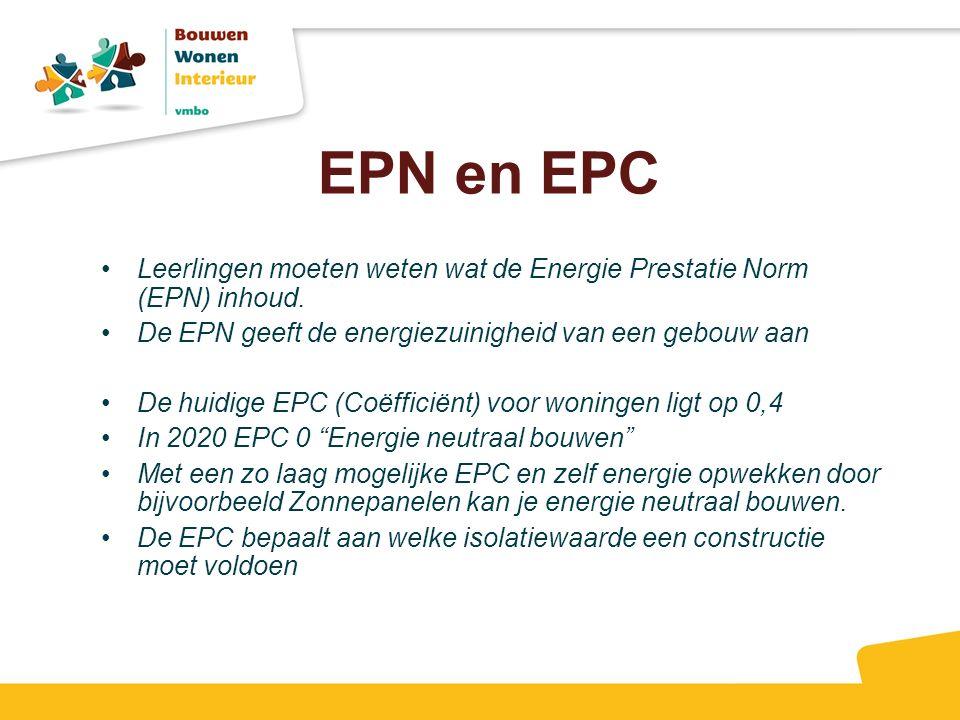 EPN en EPC Leerlingen moeten weten wat de Energie Prestatie Norm (EPN) inhoud. De EPN geeft de energiezuinigheid van een gebouw aan De huidige EPC (Co