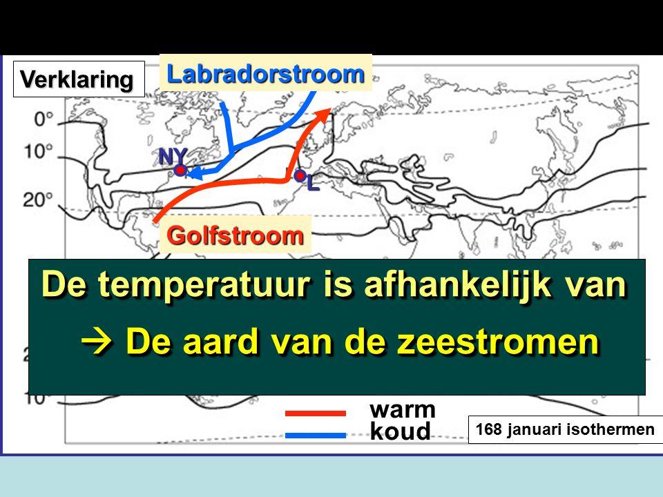168 januari isothermen koud Golfstroom warm Verklaring Labradorstroom NY L Verklaring temperatuurverschil:  Er stroomt een warme zeestroom langs West