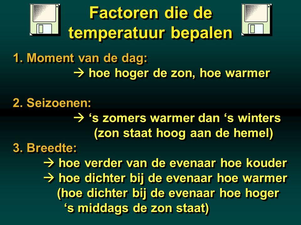 Factoren die de temperatuur bepalen 1. Moment van de dag:  hoe hoger de zon, hoe warmer 2. Seizoenen:  's zomers warmer dan 's winters (zon staat ho