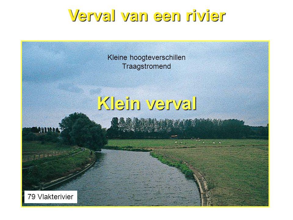 Verval van een rivier 79 Vlakterivier Klein verval Kleine hoogteverschillen Traagstromend