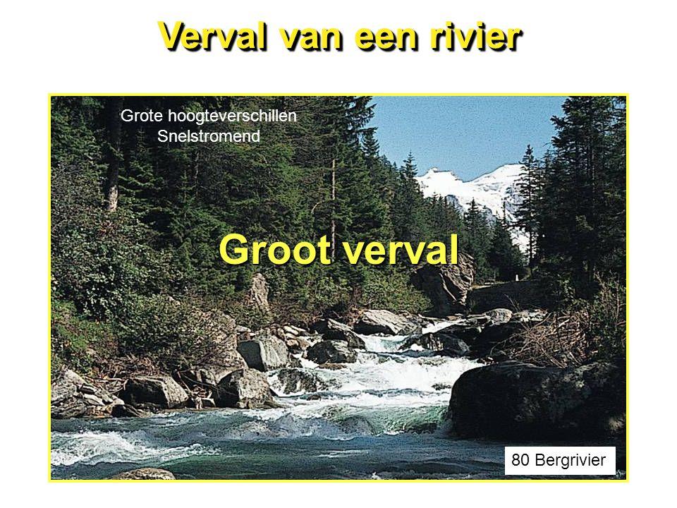 Verval van een rivier 80 Bergrivier Groot verval Grote hoogteverschillen Snelstromend