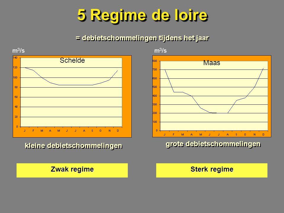 5 Regime de loire = debietschommelingen tijdens het jaar m 3 /s Schelde Maas kleine debietschommelingen grote debietschommelingen Zwak regime Sterk regime