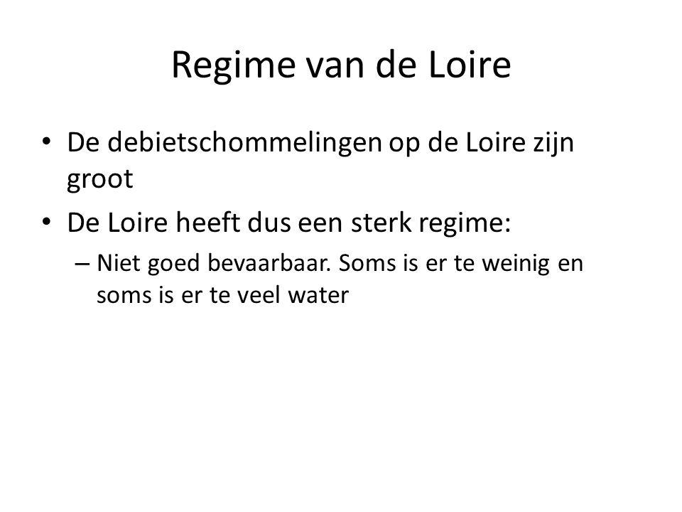 Regime van de Loire De debietschommelingen op de Loire zijn groot De Loire heeft dus een sterk regime: – Niet goed bevaarbaar. Soms is er te weinig en