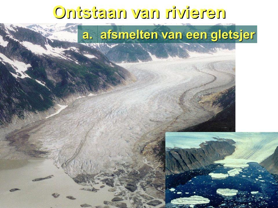 Ontstaan van rivieren afsmelten van een gletsjer a.