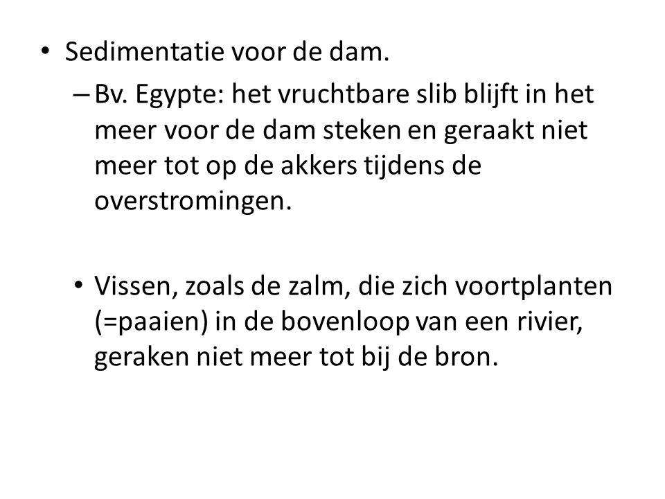 Sedimentatie voor de dam. – Bv. Egypte: het vruchtbare slib blijft in het meer voor de dam steken en geraakt niet meer tot op de akkers tijdens de ove