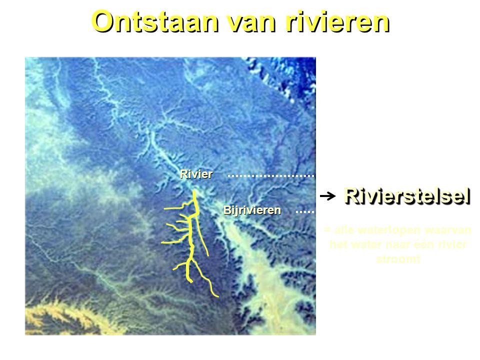 Rivier BijrivierenRivierstelselRivierstelsel = alle waterlopen waarvan het water naar één rivier stroomt Ontstaan van rivieren