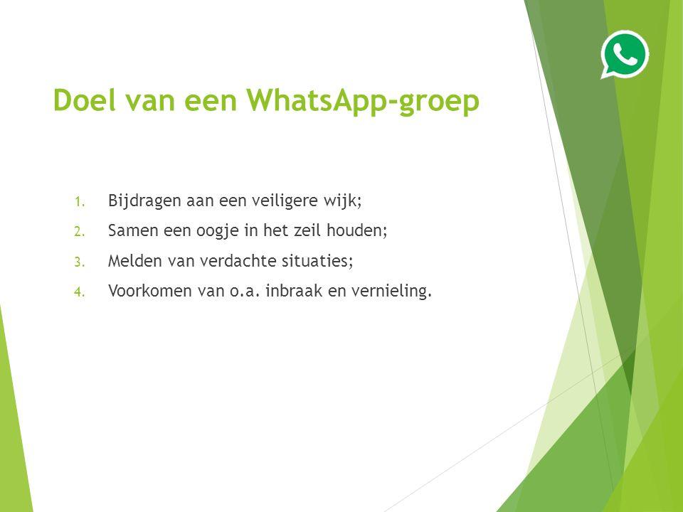 Doel van een WhatsApp-groep 1. Bijdragen aan een veiligere wijk; 2.