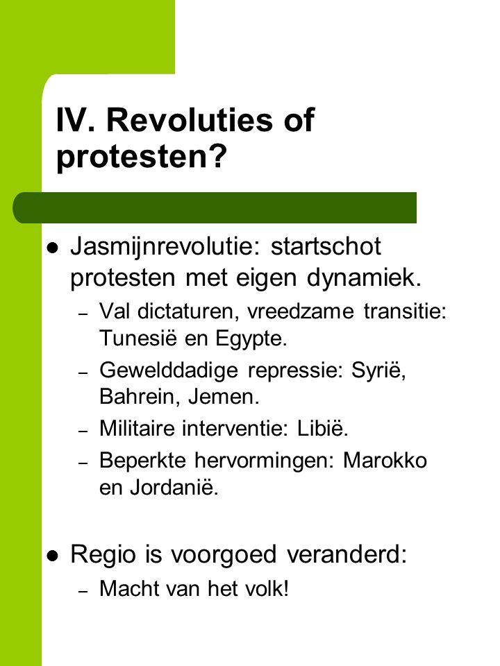 IV. Revoluties of protesten. Jasmijnrevolutie: startschot protesten met eigen dynamiek.