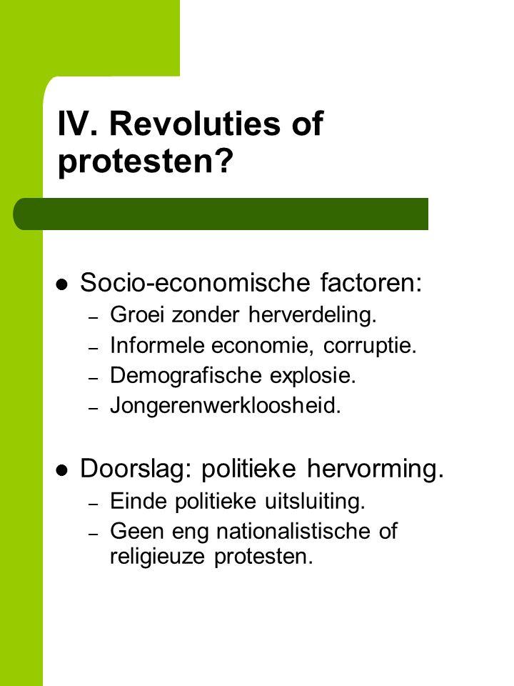 IV. Revoluties of protesten. Socio-economische factoren: – Groei zonder herverdeling.