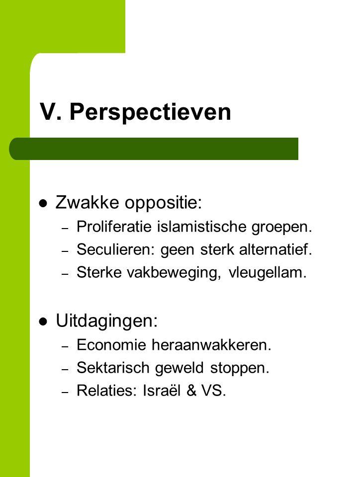 V. Perspectieven Zwakke oppositie: – Proliferatie islamistische groepen.