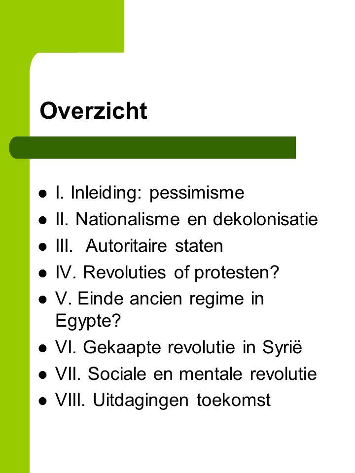 Overzicht I. Inleiding: pessimisme II. Nationalisme en dekolonisatie III.