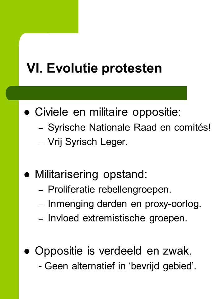 VI. Evolutie protesten Civiele en militaire oppositie: – Syrische Nationale Raad en comités.