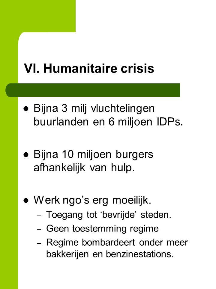 VI. Humanitaire crisis Bijna 3 milj vluchtelingen buurlanden en 6 miljoen IDPs.