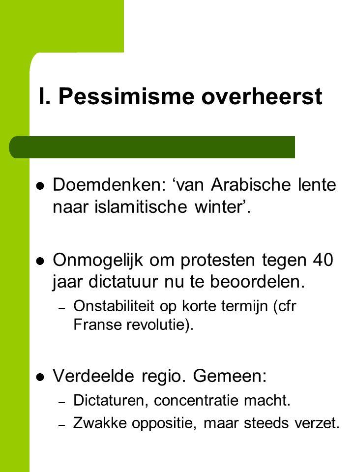 I. Pessimisme overheerst Doemdenken: 'van Arabische lente naar islamitische winter'.