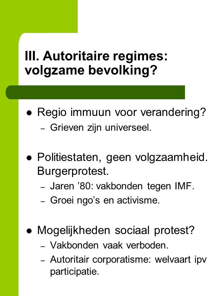 III. Autoritaire regimes: volgzame bevolking. Regio immuun voor verandering.