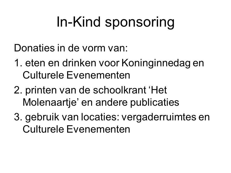 In-Kind sponsoring Donaties in de vorm van: 1.