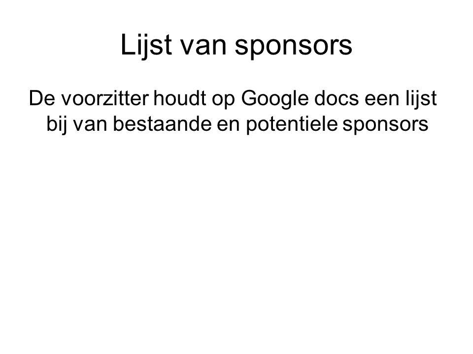 Lijst van sponsors De voorzitter houdt op Google docs een lijst bij van bestaande en potentiele sponsors