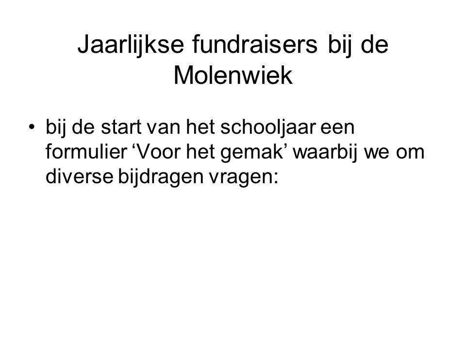 Jaarlijkse fundraisers bij de Molenwiek bij de start van het schooljaar een formulier 'Voor het gemak' waarbij we om diverse bijdragen vragen:
