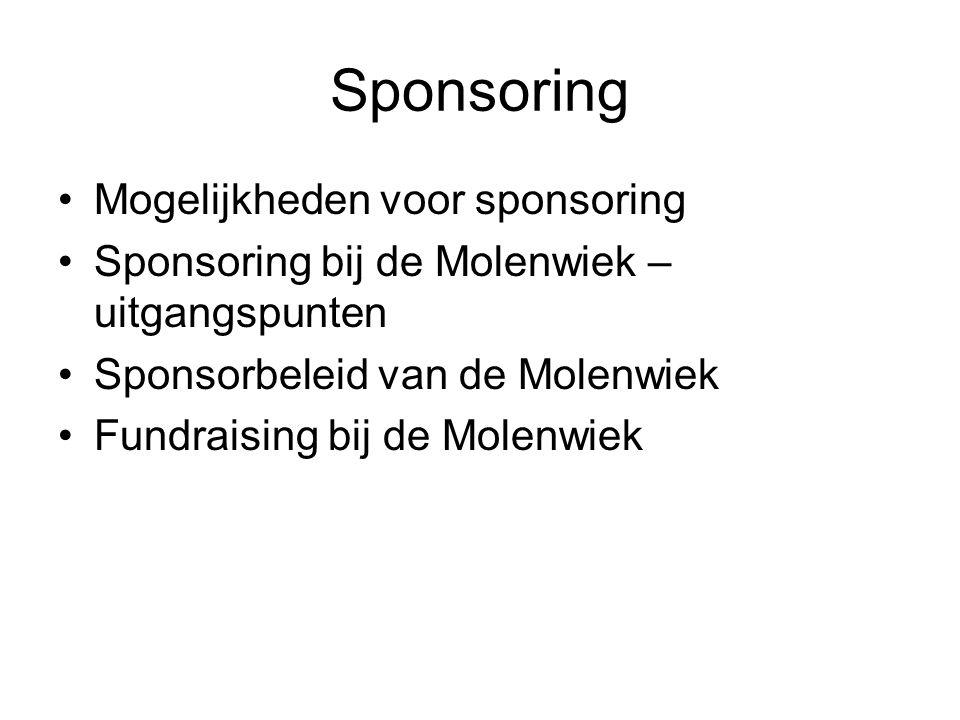 Sponsoring Mogelijkheden voor sponsoring Sponsoring bij de Molenwiek – uitgangspunten Sponsorbeleid van de Molenwiek Fundraising bij de Molenwiek