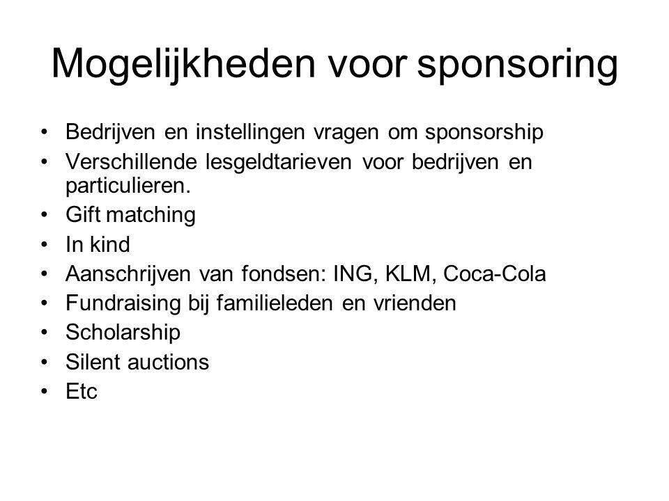 Mogelijkheden voor sponsoring Bedrijven en instellingen vragen om sponsorship Verschillende lesgeldtarieven voor bedrijven en particulieren.