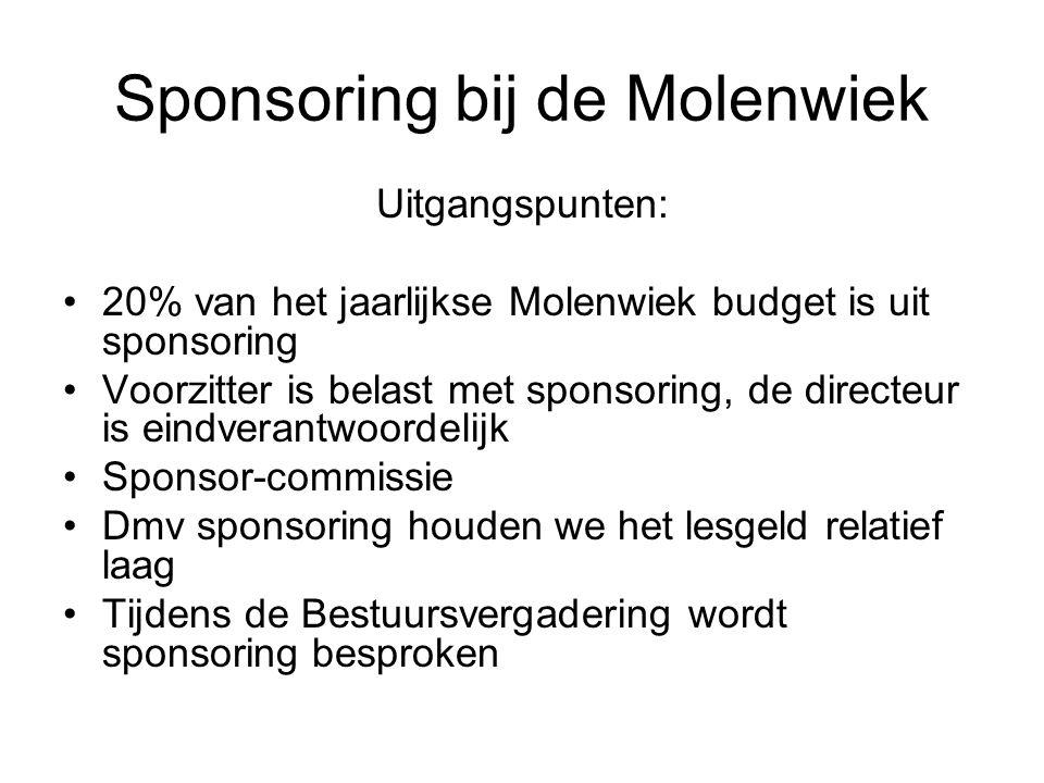 Sponsoring bij de Molenwiek Uitgangspunten: 20% van het jaarlijkse Molenwiek budget is uit sponsoring Voorzitter is belast met sponsoring, de directeur is eindverantwoordelijk Sponsor-commissie Dmv sponsoring houden we het lesgeld relatief laag Tijdens de Bestuursvergadering wordt sponsoring besproken