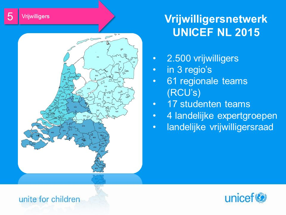 Vrijwilligersnetwerk UNICEF NL 2015 2.500 vrijwilligers in 3 regio's 61 regionale teams (RCU's) 17 studenten teams 4 landelijke expertgroepen landelijke vrijwilligersraad