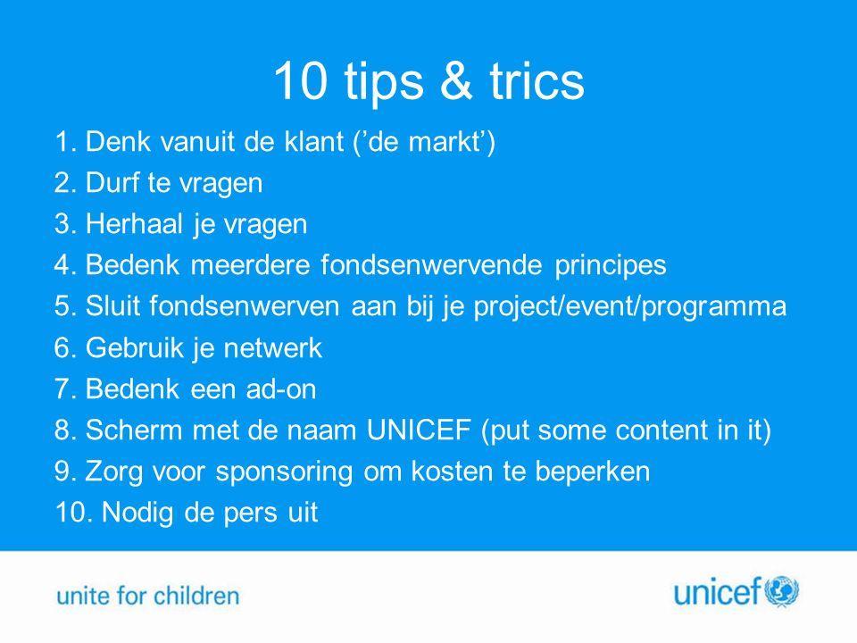 10 tips & trics 1. Denk vanuit de klant ('de markt') 2.