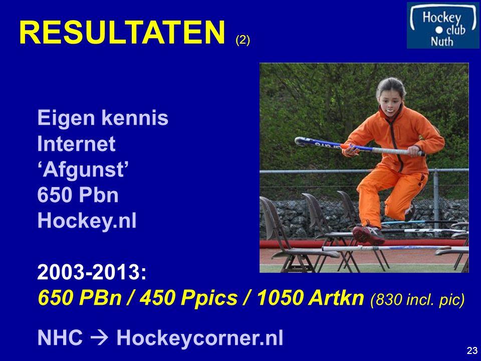 RESULTATEN (2) Eigen kennis Internet 'Afgunst' 650 Pbn Hockey.nl 2003-2013: 650 PBn / 450 Ppics / 1050 Artkn (830 incl.