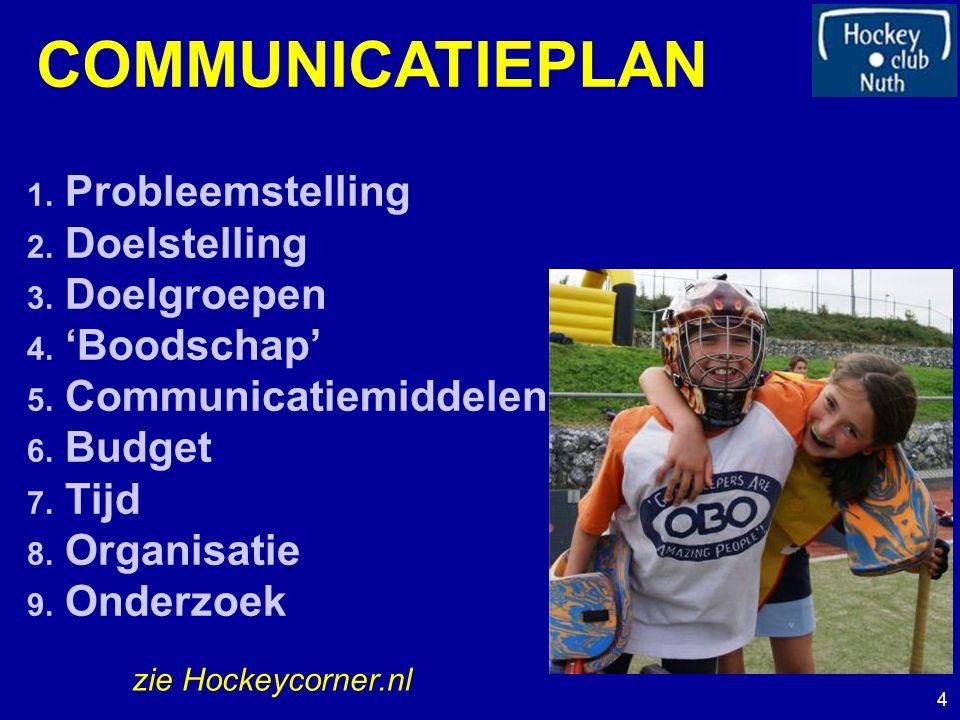 COMMUNICATIEPLAN 1. Probleemstelling 2. Doelstelling 3. Doelgroepen 4. 'Boodschap' 5. Communicatiemiddelen 6. Budget 7. Tijd 8. Organisatie 9. Onderzo