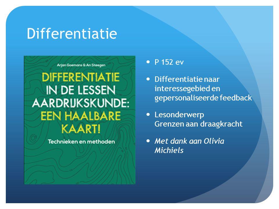 Differentiatie P 152 ev Differentiatie naar interessegebied en gepersonaliseerde feedback Lesonderwerp Grenzen aan draagkracht Met dank aan Olivia Michiels
