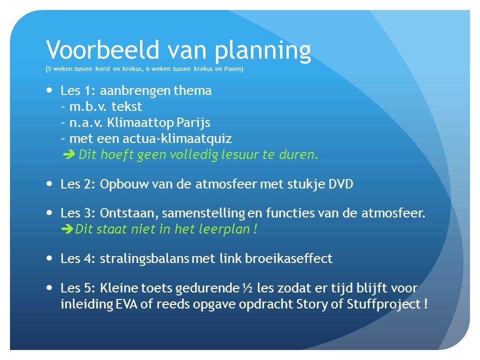 Voorbeeld van planning (5 weken tussen Kerst en krokus, 6 weken tussen krokus en Pasen) Les 1: aanbrengen thema - m.b.v.