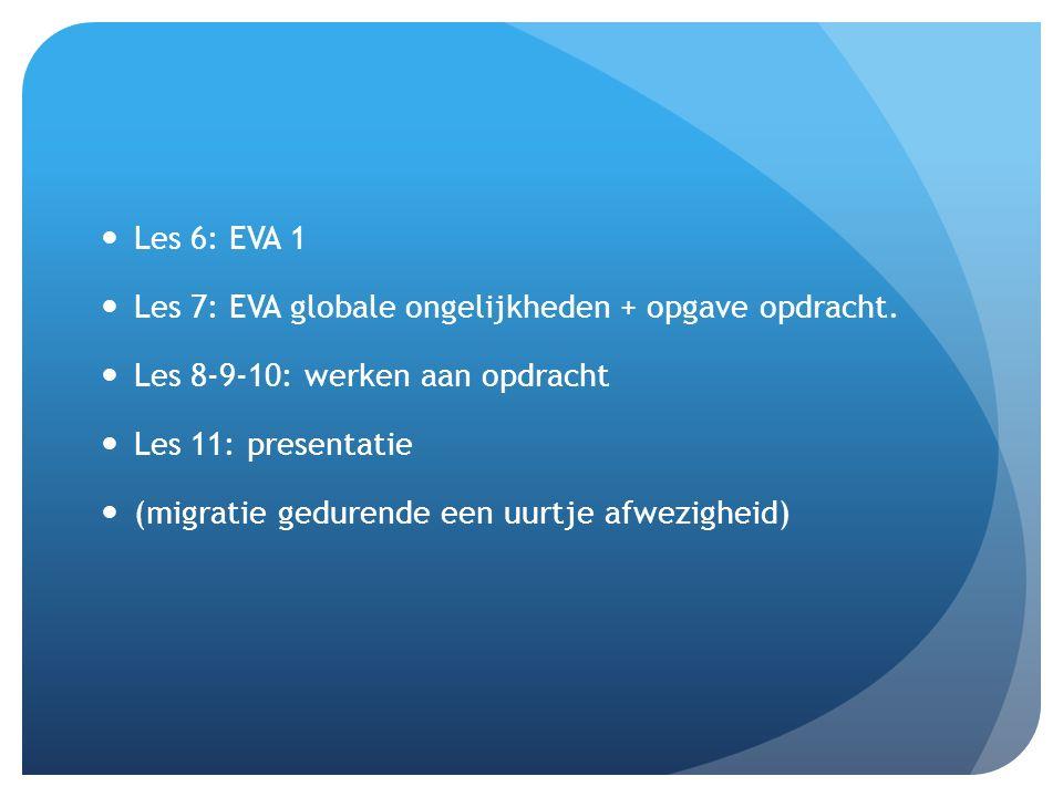 Les 6: EVA 1 Les 7: EVA globale ongelijkheden + opgave opdracht.