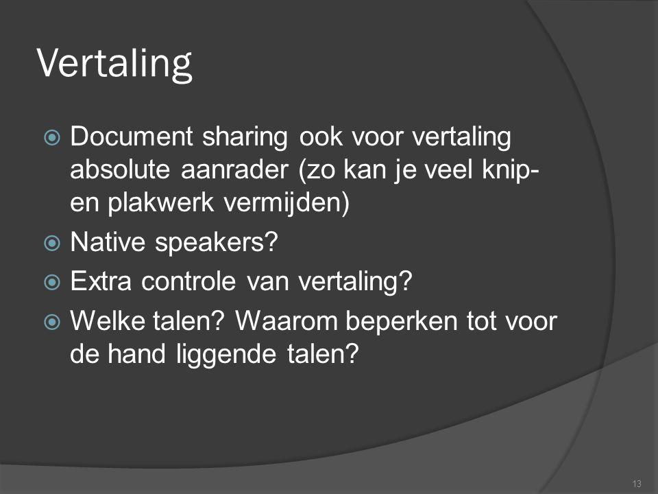 Vertaling  Document sharing ook voor vertaling absolute aanrader (zo kan je veel knip- en plakwerk vermijden)  Native speakers.