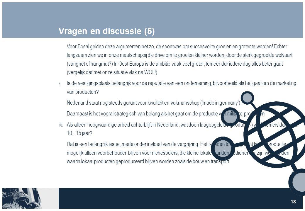 18 Vragen en discussie (5) Voor Bosal gelden deze argumenten net zo, de sport was om succesvol te groeien en groter te worden.