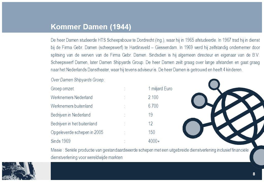 8 Kommer Damen (1944) De heer Damen studeerde HTS Scheepsbouw te Dordrecht (Ing.), waar hij in 1965 afstudeerde.