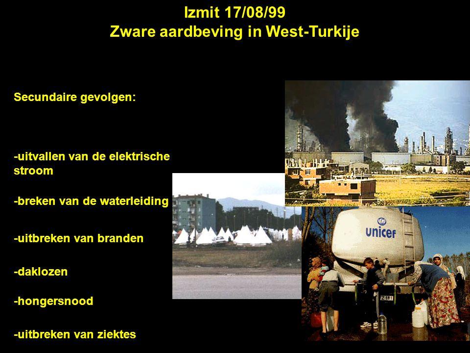 Izmit 17/08/99 Zware aardbeving in West-Turkije Secundaire gevolgen: -uitvallen van de elektrische stroom -breken van de waterleiding -uitbreken van b
