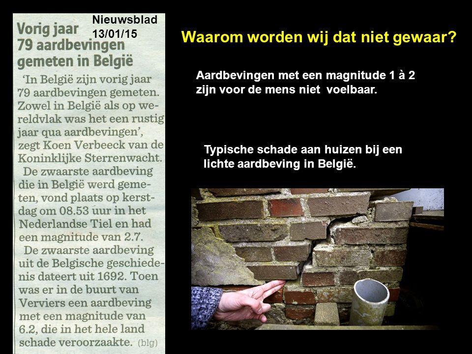 Nieuwsblad 13/01/15 Typische schade aan huizen bij een lichte aardbeving in België. Aardbevingen met een magnitude 1 à 2 zijn voor de mens niet voelba