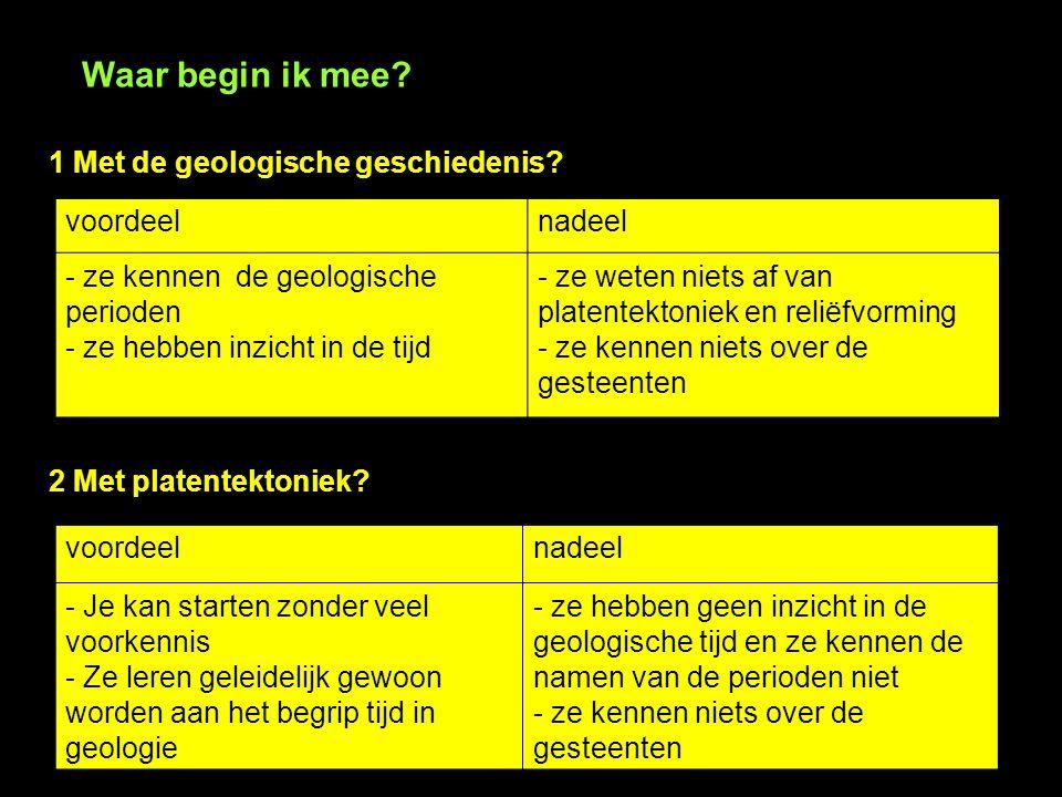 Waar begin ik mee? 1 Met de geologische geschiedenis? voordeelnadeel - ze kennen de geologische perioden - ze hebben inzicht in de tijd - ze weten nie