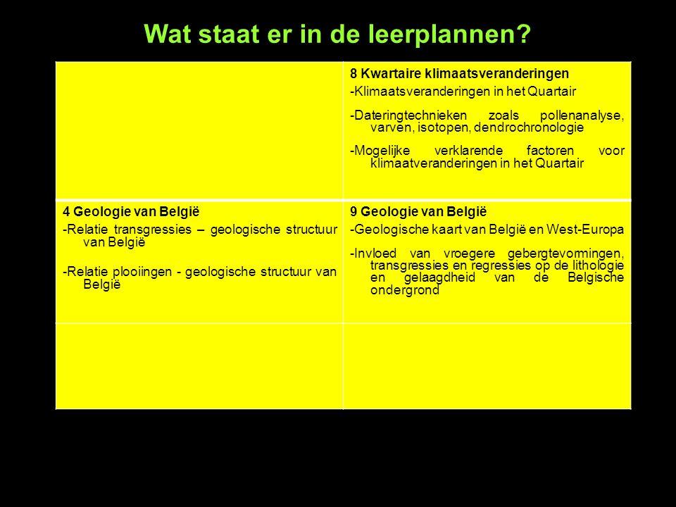8 Kwartaire klimaatsveranderingen -Klimaatsveranderingen in het Quartair -Dateringtechnieken zoals pollenanalyse, varven, isotopen, dendrochronologie -Mogelijke verklarende factoren voor klimaatveranderingen in het Quartair 4 Geologie van België -Relatie transgressies – geologische structuur van België -Relatie plooiingen - geologische structuur van België 9 Geologie van België -Geologische kaart van België en West-Europa -Invloed van vroegere gebergtevormingen, transgressies en regressies op de lithologie en gelaagdheid van de Belgische ondergrond Wat staat er in de leerplannen?