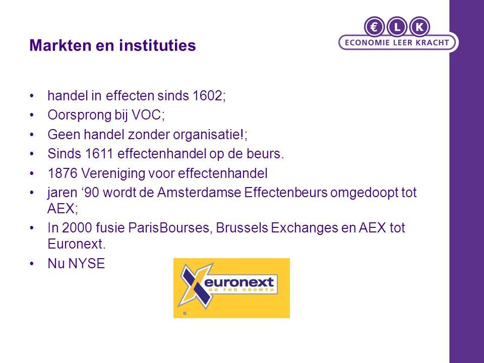 Markten en instituties handel in effecten sinds 1602; Oorsprong bij VOC; Geen handel zonder organisatie!; Sinds 1611 effectenhandel op de beurs. 1876