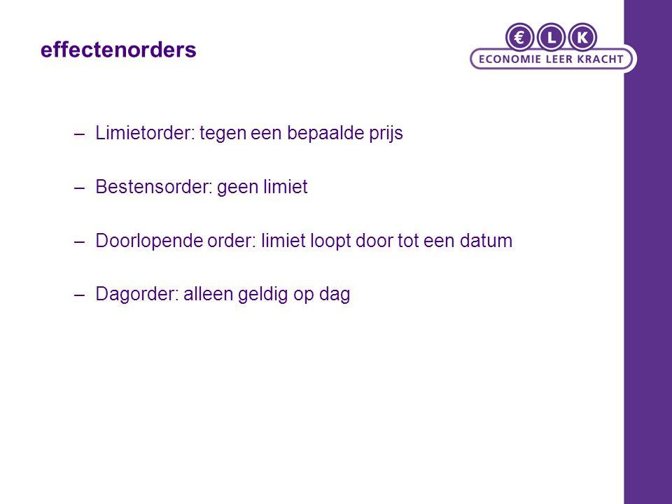 effectenorders –Limietorder: tegen een bepaalde prijs –Bestensorder: geen limiet –Doorlopende order: limiet loopt door tot een datum –Dagorder: alleen