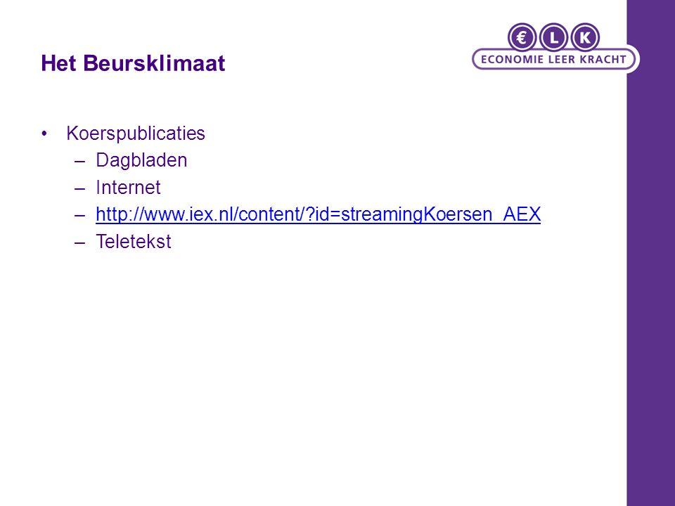 Het Beursklimaat Koerspublicaties –Dagbladen –Internet –http://www.iex.nl/content/?id=streamingKoersen_AEXhttp://www.iex.nl/content/?id=streamingKoers