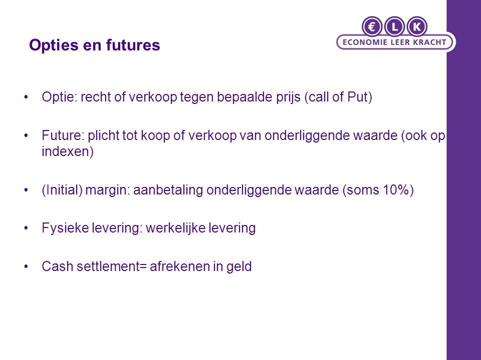 Opties en futures Optie: recht of verkoop tegen bepaalde prijs (call of Put) Future: plicht tot koop of verkoop van onderliggende waarde (ook op index