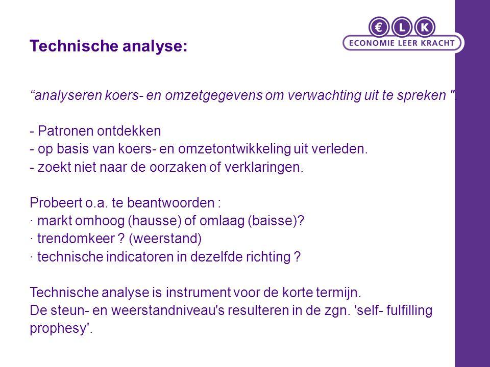 """Technische analyse: """"analyseren koers- en omzetgegevens om verwachting uit te spreken"""