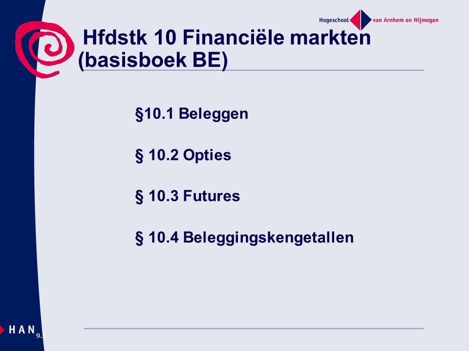 Hfdstk 10 Financiële markten (basisboek BE) §10.1 Beleggen § 10.2 Opties § 10.3 Futures § 10.4 Beleggingskengetallen 9.1