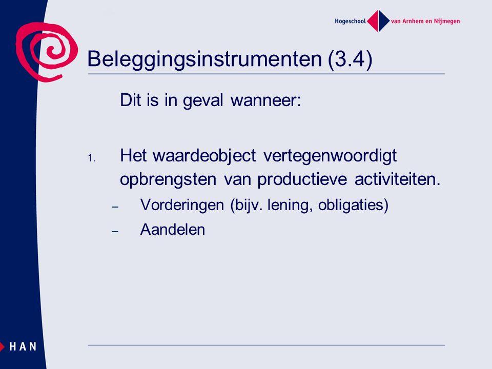 Beleggingsinstrumenten (3.4) Dit is in geval wanneer: 1. Het waardeobject vertegenwoordigt opbrengsten van productieve activiteiten. – Vorderingen (bi